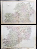 1870 John Bartholomew Large Antique 2 Sheet Map of Ireland