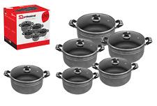 5pc Una Die Cast Deep Casserole Stockpot Cooking Pot Pan Glass Lid Set Non Stick