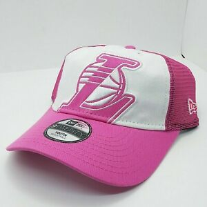 Youth Kids New Era 9Twenty Strapback cap-hat white/pink Los Angeles Lakers NBA