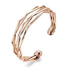 Rose Gold Twist Geometric Bangle