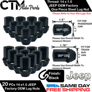 20 JEEP OEM FACTORY BLACK 14X1.5 WHEEL LUG NUT CONICAL SEAT FIT GRAND CHEROKEE