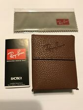 New Genuine Ray Ban Wayfarer/ Round Metal Foldable Brown Leather Case