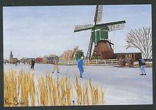 Winters tafereel, geschilderd door Kees Schut, mondschilder