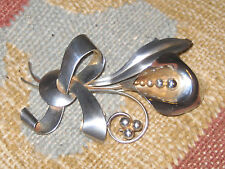 Silver Flower Pin Beautiful Antique Large Sterling