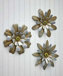 SET OF 3 RUSTIC GALVANIZED METAL INDOOR OUTDOOR FLOWERS WALL DECOR