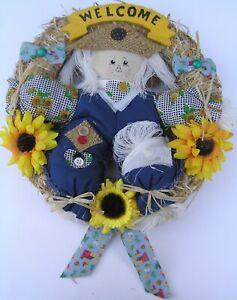 "Hand Made Harvest Fall Wreath Scarecrow Welcome Button Flower Door Burlap 12"""