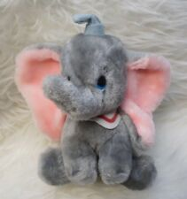 "Vintage Disney Dumbo Plush Small 9"" Stuffed Animal Gray Blue Hat Seated"