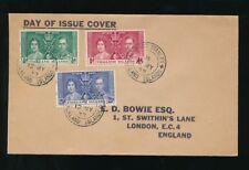 FALKLAND ISLANDS 1937 CORONATION FDC BOWIE ENVELOPE