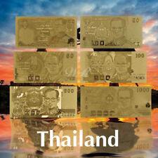 WR Gold Foil Thailand Banknote Set 6pcs 10-1000 Baht Commemorative Gifts