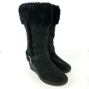 American Eagle Faux Fur Winter Boots Women Size 8 Wedge Suede