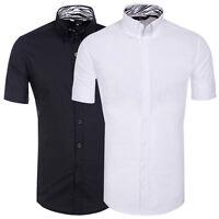 Neu Schwarz/Weiß Herren Kurzarm Slim Fit Hemd Shirts Freizeit Hemden Gr S M L XL