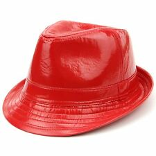 Hat Trilby Red LOUDelephant Shiny Party Fedora Faux Leather One Size