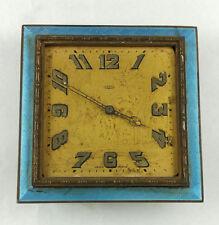 ANTIQUE ART NOUVEAU GOERING GLASS ENAMEL GUILLOCHE DESK CLOCK