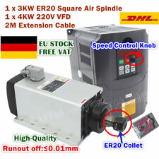 3KW 220V Air Cooled Square Spindle Motor ER20 Quality&4KW VFD for Engraving【DE】