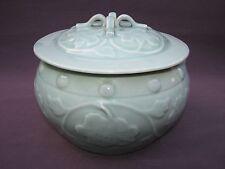 Vtg Chinese Longquan Green Celadon Porcelain Peony Kamcheng Lidded Bowl Pot Jar