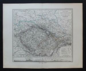 Antique Map: Stieler's 1873 Eastern Germany & Bohemia by Hermann Berghaus