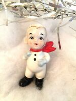 Vintage Christmas Boy w/Red Scarf & Blue Mittens Ceramic Japan