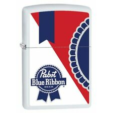 Pabst Blue Ribbon White Matte Zippo Lighter
