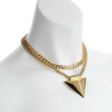 "Gorgeous 16"" long gold tone double layered chain &  triangle pendant necklace"