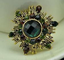 Vintage Style Green Sun Flower Woman Brooch Pin Austrian Crystal Gold Tone