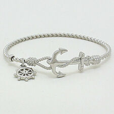 Anchor Nautical Bangle Bracelet SLVR Twisted Metal Opening Beach SeaLife Jewelry