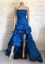 Roberto CAVALLI ONE OF A KIND 100% Seta Blu Royal Increspato Ballgown