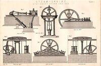 1868 Imprimé~Vapeur Moteur~Papeterie Vapeur Moteurs