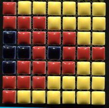 49 Ceramic Mosaic Tiles 1x1 Dark Blue, Yellow & Red
