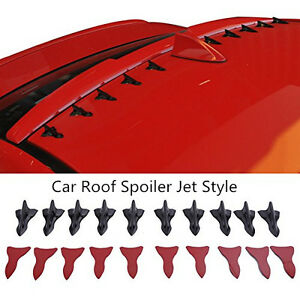 10pcs Car Roof Shark Fin Spoiler Boot Vortex Generator Wing Jet Shape PP Black