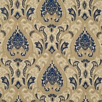 """57"""" Wide Upholstery Drapery Chenille Damask Fabric Navy Blue by The Yard"""