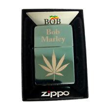 Zippo Custom Lighter Polish Green Bob Marley Pot Leaf Reggae Music Stoner Weed