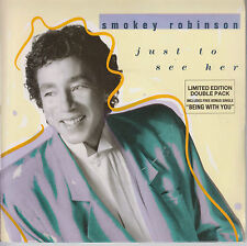 "SMOKEY ROBINSON - Just To See Her- 1987 UK limited edition 4-trk 7"" vinyl double"