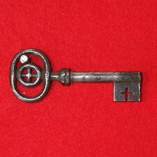 Antique KEY 18th C. English Castle Door Church House Lock CROSS INSIDE A CIRCLE