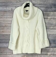 Talbots Sweater XL Ivory Chunky Oversized 3/4 Sleeve Wool Blend Ribbed Cowl Neck