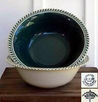 "(LOT X2) VTG Harker Ware Corinthian Teal 8 3/4"" Round Serving Bowl / Pottery"