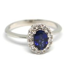 White Gold Ring 750 18K, Flower, Sapphire Oval 0.99, Diamonds, Italy Made