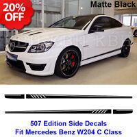 507 Style Stripes Sticker for Mercedes Benz S204 W204 Coupe C 63 AMG Matt Black