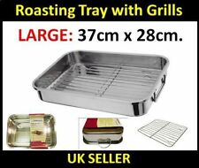 4pc Stainless Steel Roasting Trays Oven Pan Dish Baking Roaster Tray Grill Rack Large Tray 37cm X 28 Cm