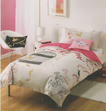 Birds Of A Feather Oriental Beige Pink Single Quilt Doona Cover Set + Cushion