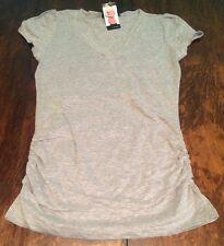 NWT Womens GRACE ELEMENTS Mist Grey V Neck Tee Shirt Size Medium M