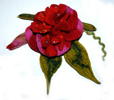 HANDMADE FELTED WOOL BROOCH/CORSAGE/PIN WET FELTING FLOWER RED PINK GREEN