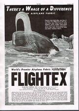 1947 Flightex Fabrics Inc Vintage Airplane related Print Ad Sperm Whale