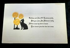 Vintage Halloween Postcard Black Cat with Pumpkins The Rose Co. 1912 Post 5522