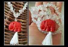 Himalayan Water Crystal Quartz Elephant Organic White Tassel Mala Long Necklace