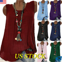 US Womens Sleeveless Linen Loose Round Neck Tops Solid Summer Ladies Blouse Vest