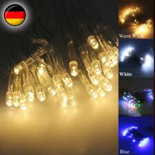 10-100 LED Lichterkette mit Timer für Innen Außen warmweiß Batteriebetrieben