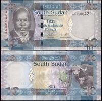 Südsudan 10 South Sudanese Pounds. UNZ ND (2011) Banknote Kat# P.7a