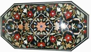 24 x 48 Inches Semi Precious Stones Art Dining Table Top Marble Coffee Table