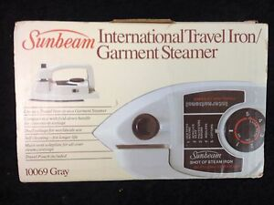 Travel Iron Vintage Sunbeam 10069 International Iron Steamer Dual Voltage
