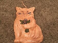 "Beeswax Ornament Hand Painted Vintage Cat Ornament 6"" Tall"